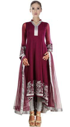 Burgundy Net Long Tail Anarkali Suit