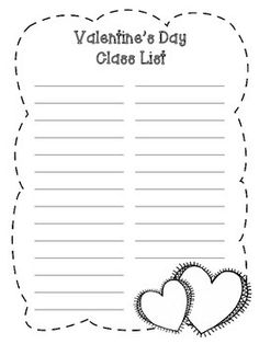 Teacher's Note: Free Valentine's Day Class List Printable