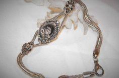 Vintage sterling silver hematite bracelet, floral bracelet, vintage 925 feminine bracelet by MerakiByMe on Etsy