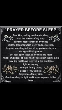 Prayer before sleep Prayer Scriptures, Bible Prayers, Faith Prayer, God Prayer, Prayer Quotes, Spiritual Quotes, Faith Quotes, Bible Quotes, Bible Verses