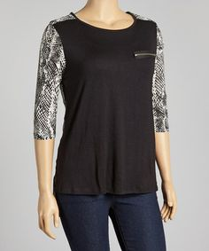 Look what I found on #zulily! Black & White Zip Pocket Top - Plus by Yummy #zulilyfinds