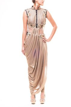Taupe Gold - Black Saree Gown