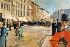 Edvard Munch, Music on the Karl Johan Street (1889) on ArtStack #edvard-munch #art