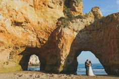Beach wedding on the beach of Alvor in Portimao, Algarve, with rocks and cliffs, close the Senhora da Rocha chapel of Algarve wedding photographer jesus caballero #chapel #alvor #alvorwedding #portimaowedding #algarvewedding #beachwedding #beach #irmaos #lagos #rocha #seawedding #sailboat #sailwedding #harbour #portugal #photographer #groom #natura #hotel #martinhal  #ukweddings #surrey  #canadian #american www.jesuscaballero.com