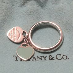 Tiffany&co RTT mimic Heart Tag Ring Tiffany&co sterling silver 925 & Blue Enamel Return To Tiffany Heart Tag Charm Ring size 6 Tiffany & Co. Jewelry Rings