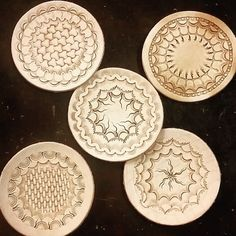 «More coasters. #leather #leathercraft #leatherwork #leathercarving…