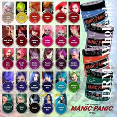MANIC PANIC Classic Semi-Permanent VEGAN Hair Dye Color ALL COLORS 4 Oz NEW
