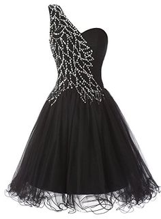 Tideclothes One Shoulder Short Prom Dress Tulle Sequins Homecoming Dress Black16 * To view further for this item, visit the image link. Note: It's an affiliate link to Amazon