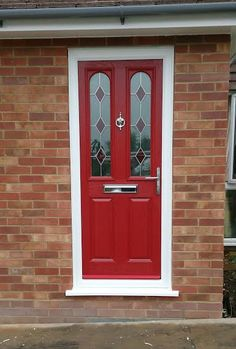 2 Panel 2 Arch Drop Diamond Composite Front Door in Red