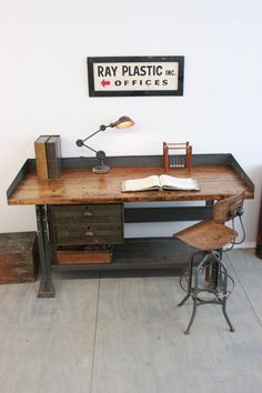 Vintage Industrial Workbench/ Kitchen Island/ Desk/ Toledo Stool/ Edon light - 1940s, by Dorset Finds