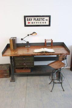 Vintage Industrial Workbench/ Kitchen Island/ Desk/ Toledo Stool/ Edon light - 1940s, by Dorset Finds