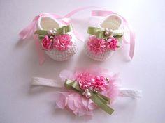 Pink Ribbon Flower Beaded Stretchy Headband  Size by mymayamade, $15.99