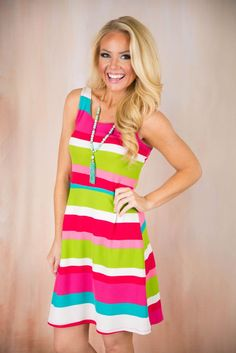 Pink Coconut Boutique | Stripes of Spring Dress