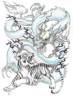 Tigre et Dragon - Tiger Dragon, Dragon Art, Tiger Tattoo Sleeve, Sleeve Tattoos, Tattoo Japonais, Dragon Tattoo Meaning, Japanese Tiger Tattoo, Ouroboros Tattoo, Tatoo Designs