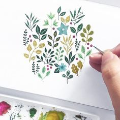 Zooming in on the little details from yesterday& piece. Art Floral, Motif Floral, Watercolour Painting, Watercolor Flowers, Painting & Drawing, Watercolors, Drawing Flowers, Botanical Line Drawing, Botanical Art