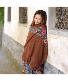 2ad9478ebc6 Hot Autumn Winter Women National Embroidery Sarong Wrap Shawl Style Scarves  Coffee CS12N245MXR