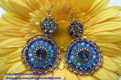 Egyptian Elegance Jewel Blue gold contrast seed bead earrings - Copyright©createdbycarla  http://www.etsy.com/shop/createdbycarla