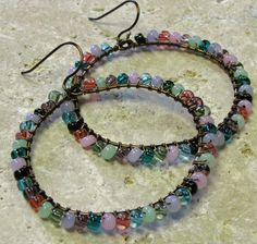 Tourmaline Wire Wrapped Hoops