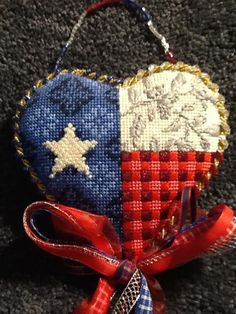Texas flag Needlepoint Heart by Kirk & Bradley (stitched by Claire Hill)