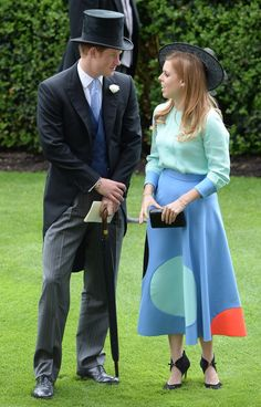 Prince Harry chatting with his cousin, Princess Beatrice.