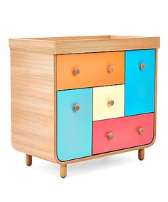 Create a fun, bright and colourful nursery for your baby.  The Carnaby changing unit features plenty of drawers and cupboard space for storage and a space on top to change your littlle one's nappy that can be  removed when you baby is older.