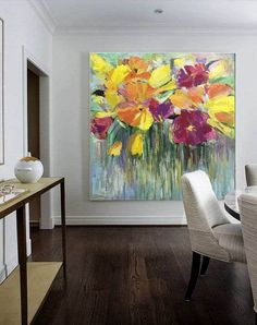 Flower Canvas Art, Abstract Flower Art, Abstract Oil, Wall Painting Flowers, Painting Edges, Large Painting, Acrylic Painting Canvas, Canvas Wall Decor, Wall Art