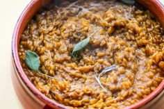 Vegetarian Fall Pumpkin Risotto Recipe with Parmesan Cheese. This savory pumpkin dinner is one of autumn's essential recipes. A unique comfort food twist. Makes an excellent main dish idea for vegetarians for the Thanksgiving meal.