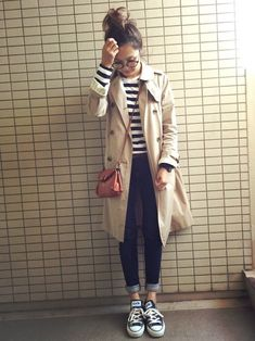 striped top + black jeans + converse + long coat