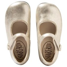 Start-rite Gold Caty Metallic Suede Mary Janes