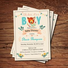 Woodland deer baby shower invitation. It's a boy baby by CrazyLime