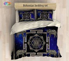 Bohemian bedding, Sacred Yantra duvet cover set, Elephant mandala symbol bedding set, Bohemian decor