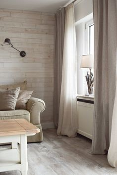 linen curtains - Beige - Home All Cool Curtains, Linen Curtains, Beautiful Curtains, Living Room Decor, Living Spaces, Room Divider Curtain, Wall Cladding, Wooden Walls, Wall Wood