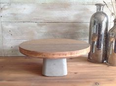 Cake stand with a DIY concrete base..