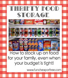 The Fun Cheap or Free Queen: Thrifty Food Storage - How to stock up on food for your family, even when your budget is tight!