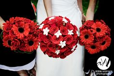 wedding day - details - ideas - bridesmaids - flowers - bouquet - floral - red - gerber daisies - roses - Stephanotis - black and white - photography by Abbie Warnock