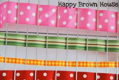 Weaving with ribbon and a basket or cookie cooling rack