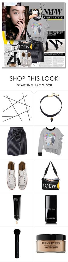"""NYFW - Street Style Trend"" by stylemeup-649 ❤ liked on Polyvore featuring CB2, Vanessa Mooney, Loveless, Maison Margiela, Converse, Loewe, Bobbi Brown Cosmetics, Chanel, Givenchy and Lancôme"