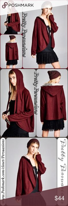 NWT Burgundy Hooded Open Front Cardigan Description coming soon • Available in S, M, L • also available in black & white combo or black & gray combo in separate listings. Pretty Persuasions Sweaters Cardigans