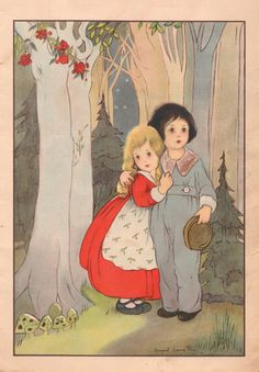1915 Antique Art Illustration Hansel and Gretel Color Lithograph Margaret Evans Price