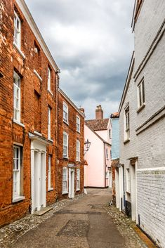 Vertical view of a narrow street typical of a small English town, Norwich, UK Norwich England, Great Britain, English, Street, City, Travel, Viajes, Roads, Cities