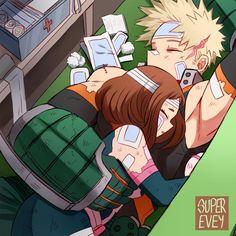 My Hero Academia Episodes, My Hero Academia Memes, Buko No Hero Academia, Hero Academia Characters, My Hero Academia Manga, Anime Love Couple, Cute Anime Couples, Bakugou And Uraraka, Bakugou Manga