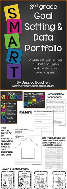 Goal Setting & Data Portfolio {Third Grade}: This packet will help students start setting academic and behavior goals. Through classroom discussions students are introduced to the concept of SMART goals and learn how to set a realistic goal.  Available for grades 2-5.