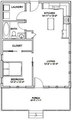 24x30 House 1 Bedroom Bath Pdf Floor Plan 720 Sq Ft Model 2d
