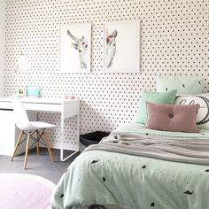Beautiful girls bedroom by Little Liberty. Black, white, mint and pink. Featuring Raindrops wallpaper by BC Magic Wallpaper