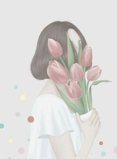 Ideas For Flowers Girl Illustration Anime Art Anime Flower, Flower Art, Korean Art, Arte Pop, Aesthetic Art, Korean Aesthetic, Anime Art Girl, Cartoon Art, Cute Drawings