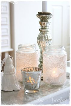 Shabby chic with lace, via Flickr.