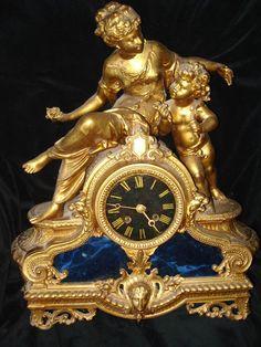 CLOCK~French Spelter Napoleon lll Clock