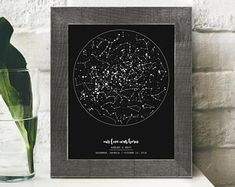 Night Sky Print, Personalized Wedding Gift for Couple, Engagement Gift for Bride, Paper Anniversary Gift for Men, Boyfriend from Girlfriend Night Sky Print Custom Star Chart Map Cotton Anniversary Cotton Anniversary Gifts, Anniversary Gifts For Husband, Anniversary Boyfriend, Engagement Gifts For Bride, Wedding Gifts For Couples, Personalized Wedding Gifts, Wedding Engagement, Ciel Nocturne, Decoration Home