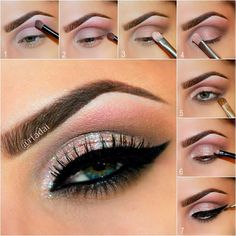 1⃣ Apply glittery pink shade COAX to the upper crease. 2⃣ Apply matte brown shade REWIND to define crease and outer V. 3⃣ Apply peachy pink shade TOXIC lid. 4⃣ Apply light frosted shade DOPE to the inner corner of the eye as a highlight. 5⃣ Generously apply matte brown shade REWIND to the lower lashes line. 6⃣ Mix Sally Girl Glitter gel with Micabella Cosmetics WHITE Acrylic glitter to form a paste and spread on the entire lid with a small synthetic brush.