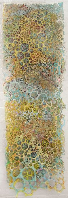 "Karen Margolis - Damascus 2008-09 - three layers of maps with burned holes, watercolor and gouache - 72"" x 25"""